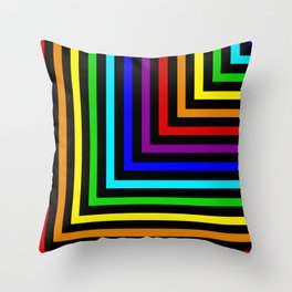 Rainbow Corners Throw Pillow