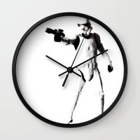 storm trooper Wall Clocks featuring Storm Trooper by Christine DeLong Creative Studio