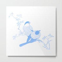 Birds In Blue Minimalist Nature Metal Print