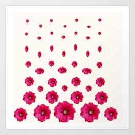 WHITE DOUBLE CERISE HOLLYHOCK FLOWERS GARDEN Art Print