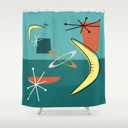 Turquoise Atomic Era Space Age Shower Curtain