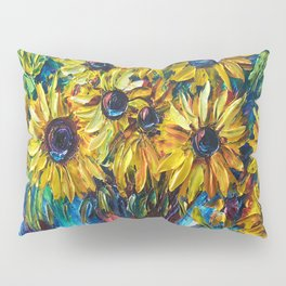SUNFLOWERS in a Vase — Palette knife painting by OLena Art Pillow Sham