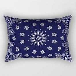 Paisley - Bandana - Navy Blue - Southwestern - Cowboy Rectangular Pillow