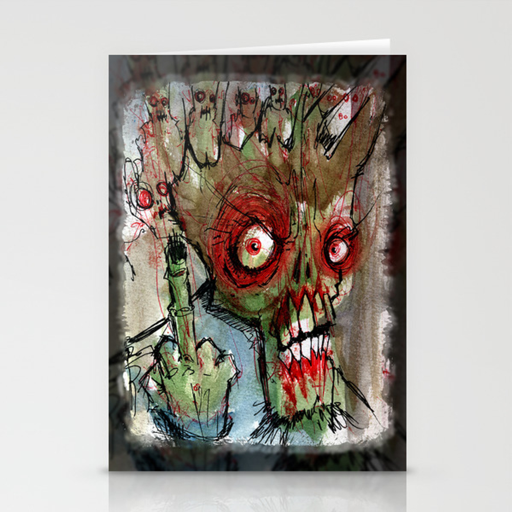 Zombie Flips The Bird Stationery Cards by Byronrempel CRD933004