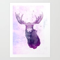 springsteen Art Prints featuring Moose Springsteen by Lucy Evans
