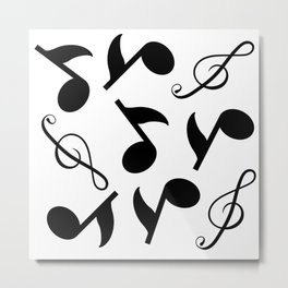 Simple Collage Of Music Notes Metal Print