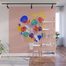 Keep Growing - Tropical plant on peach Wall Mural