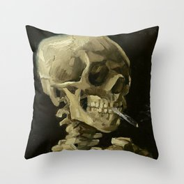 SKULL OF A SKELETON WITH BURNING CIGARETTE - VINCENT VAN GOGH Throw Pillow