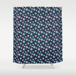 Pattern with Baby Feet  and Hearts on dark blue background Shower Curtain