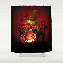 Skull Witch Creepy Halloween Shower Curtain