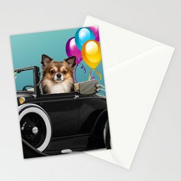 chihuahua Dog in Cabrio with balloons Stationery Cards