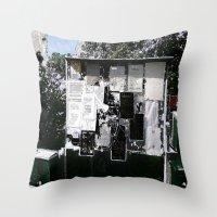 newspaper Throw Pillows featuring Village Newspaper by kromovidjojo