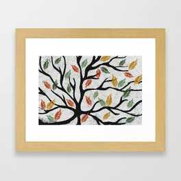 Last Autumn Leaves Watercolor Framed Art Print