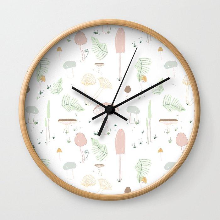 Mushroom Paradise (pastel) Wall Clock