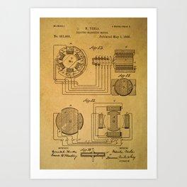 Tesla electromagnetic motor Art Print