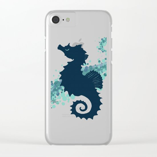 """""""Seahorse Silhouette"""" ` digital illustration by Amber Marine, (c) 2015 Clear iPhone Case"""