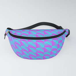 Pattern of blue squares and purple triangles in a zigzag. Fanny Pack