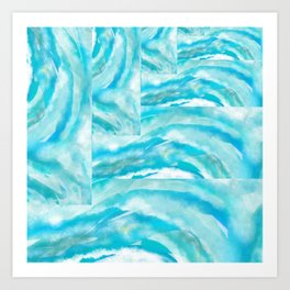 Abstract Waves of Blue Art Print