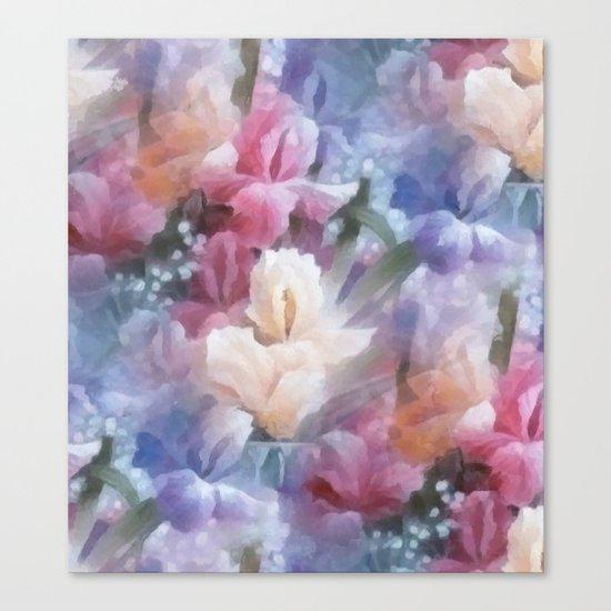 Sweet watercolor irises Canvas Print