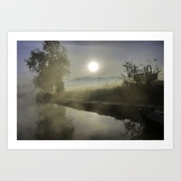 First Frosty Morning on Oxford Canal Art Print