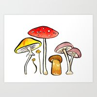 Woodland Mushrooms Art Print