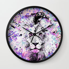 LION PINK and WHITE Wall Clock