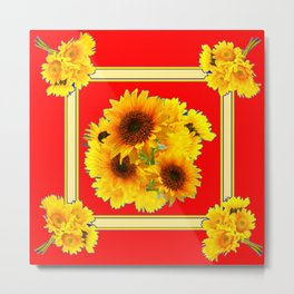 RED YELLOW SUNFLOWER BOUQUETS ART Metal Print