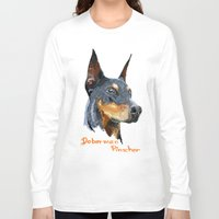 doberman Long Sleeve T-shirts featuring Doberman by Det Tidkun