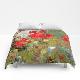 Red Geraniums in Spring Garden Landscape Painting Comforters