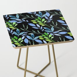 Blue and Green Leaves Side Table