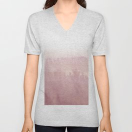 Modern creative blush pink watercolor ombre Unisex V-Neck