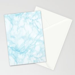 Elegant pastel blue white modern marble Stationery Cards