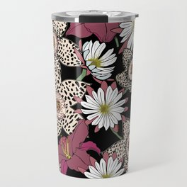 Lilies, spotted stapelia flowers and cactus flowers. Exotic Botanical Travel Mug