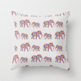 Floral Elephants Throw Pillow