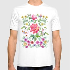 Bowers of Flowers MEDIUM White Mens Fitted Tee