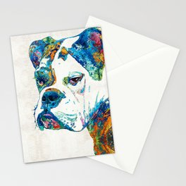 Colorful English Bulldog Art By Sharon Cummings Stationery Cards
