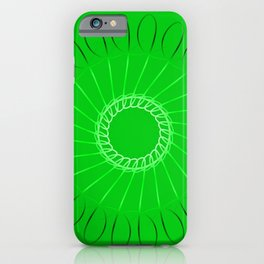 Spirographs lilac on a green background. iPhone Case