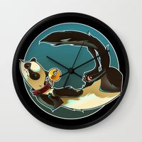 ferret Wall Clocks featuring Ferret by Ana del Valle Store