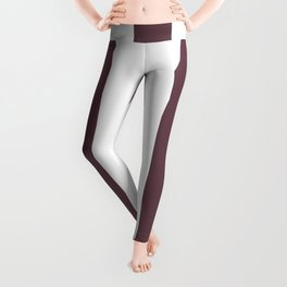 Deep Tuscan red purple - solid color - white vertical lines pattern Leggings