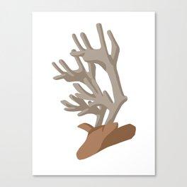 Deer bending with Antlers in brown Canvas Print
