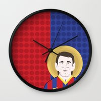 messi Wall Clocks featuring Messi Barcelona by Damian Allende