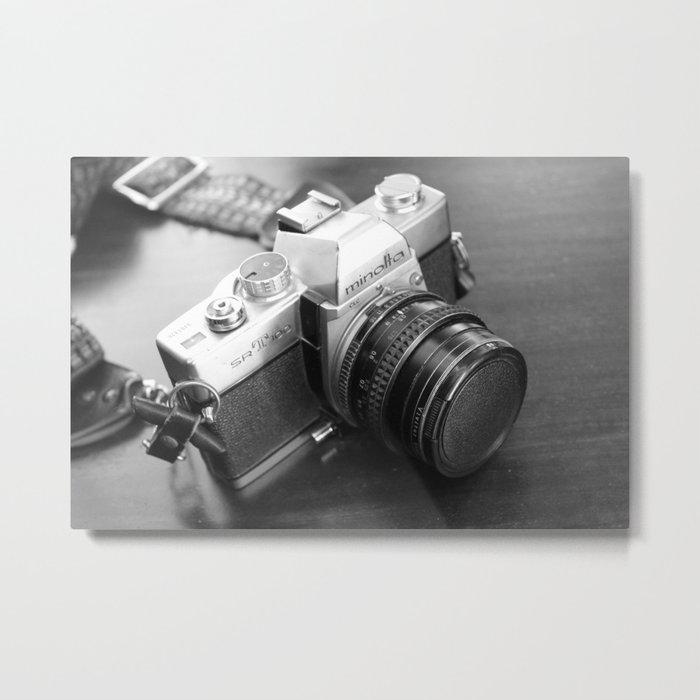 Vintage Minolta Camera B&W Metal Print