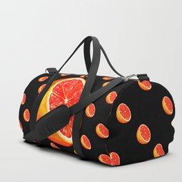 Grapefruit Pattern - Black Duffle Bag