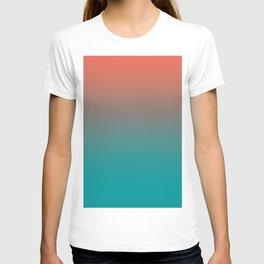 Pantone Living Coral & Viridian Green Gradient Ombre Blend T-shirt
