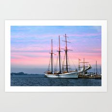 Tallship in Port Art Print