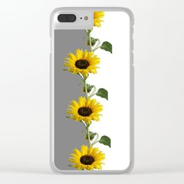 LINEAR YELLOW SUNFLOWERS GREY & WHITE ART Clear iPhone Case