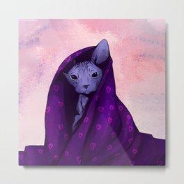 Snug Bug - Black Sphynx Cat Snugged in a Purple Heart Print Blanket Metal Print