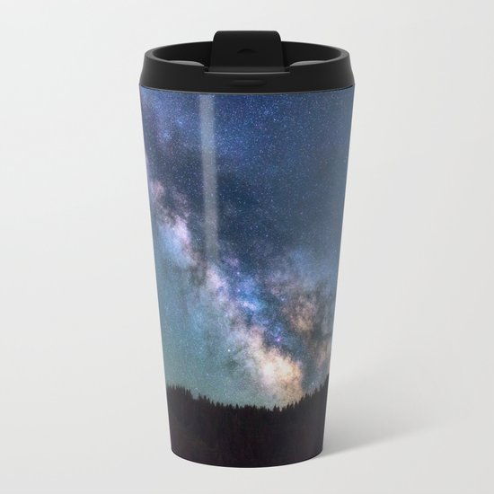 milky way night sky Metal Travel Mug