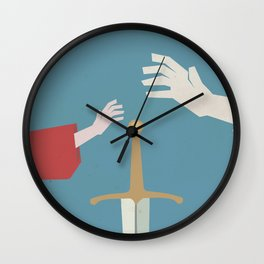 The sword in the stone, minimalist movie poster, animated film, King Arthur, Merlin, retro playbill Wall Clock