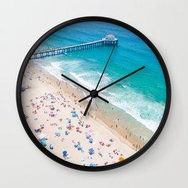 Manhattan Beach Drone Shot Wall Clock